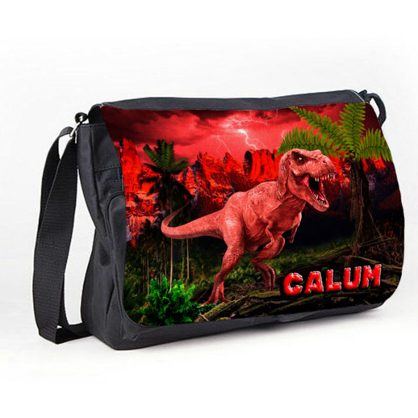T-Rex Dinosaur Personalised Gift Messenger / School / Sleepover Bag.