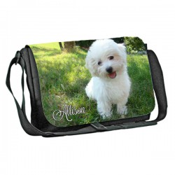 Bichon Frisé  Dog Personalised Gift Messenger / School / Sleepover Bag.