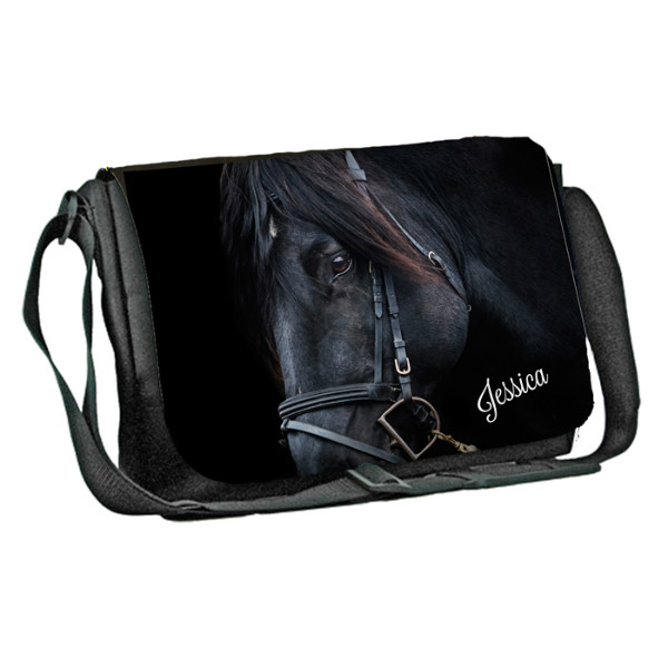 Equestrian, Single Horse, Personalised Gift Messenger / School / Sleepover Bag.