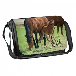 Horse & foul  design Personalised Gift Messenger / School / Sleepover Bag. Full Colour