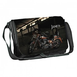 Harley motor bike design Personalised Gift Messenger / School / Sleepover Bag. Full Colour
