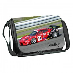 Racing Car design Personalised Gift Messenger / School / Sleepover Bag. Full Colour