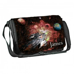 Space Ship design Personalised Gift Messenger / School / Sleepover Bag. Full Colour