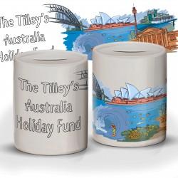 Personalised Australia Fund Savings Ceramic Money Box