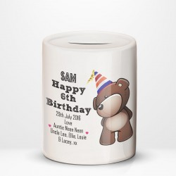 Happy Birthday Bear Any Age Personalised Ceramic Money Box