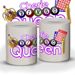 Personalised Bingo Queen Winnings Fund / Savings Ceramic Money Box.