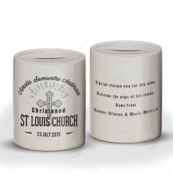 Personalised Gift Boxed Christening Ceramic Money Box. Christening day gift from Godparents, grandparents or parents