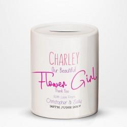 Ceramic Money Box Personalised Wedding Favour Flower Girl Thank You,