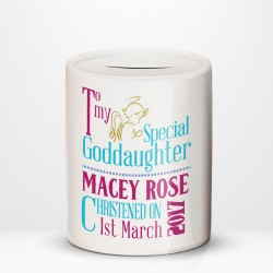 Personalised Christening Ceramic Money Box. Baptisum day gift from Godparents, grandparents or parents