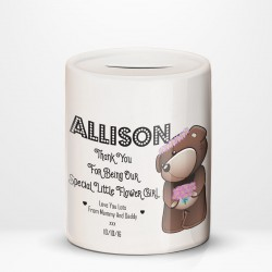Personalised Flower Girl Cute Teddy Design thank you, favour. Fund Savings Ceramic Money Box.