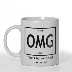 OMG The element of surprise Joke Personalised 11oz glossy white tea, coffee, ceramic mug.