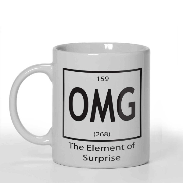 OMG The element of surprise Joke Personalised 11oz glossy white tea, coffee, ceramic mug.