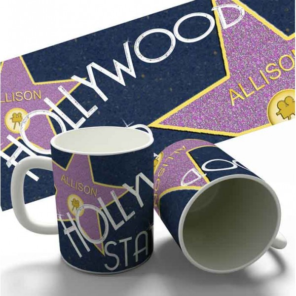 Hollywood Star personalised 11oz glossy white tea, coffee, ceramic mug.