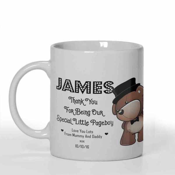 Page Boy, Best man, Usher favour personalised 11oz glossy white tea, coffee, ceramic mug. Change the text to fit your message.