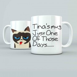 Bad Cat Personalised 11oz glossy white tea, coffee, ceramic mug.