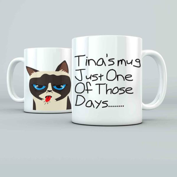Bad Cat Personalised 11oz glossy white tea, coffee, ceramic mug.