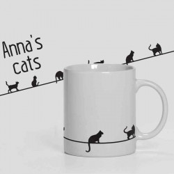 Cats personalised 11oz glossy white tea, coffee, ceramic mug.