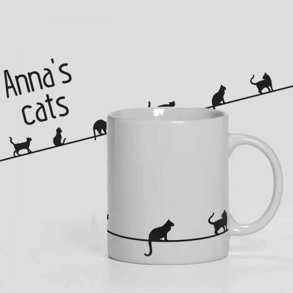 Cats personalised 11oz glossy white tea, coffee, ceramic mug.
