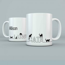 I love Cats Personalised 11oz glossy white tea, coffee, ceramic mug.