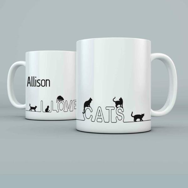 I love Cats Personalised 11oz glossy white tea, coffee, ceramic mug.