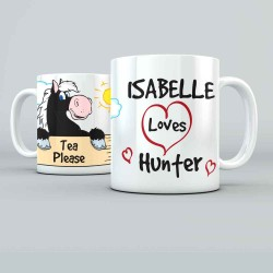 I Love My Horse Cartoon personalised 11oz glossy white tea, coffee, ceramic mug.