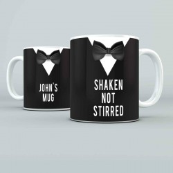 Shaken not stirred.... design Personalised 11oz glossy white tea, coffee, ceramic mug.
