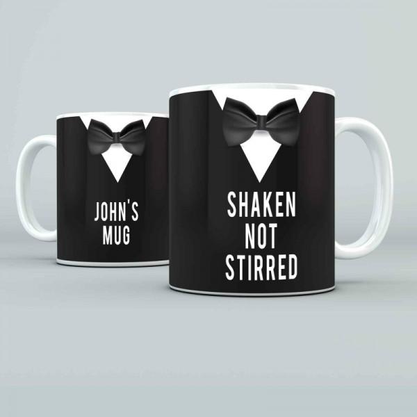 Shaken not stirred.... design Personalised 11oz glossy white tea, coffee, ceramic mug.