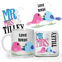 Love Birds design Personalised 11oz glossy white tea, coffee, ceramic mug & Coaster
