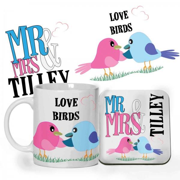 Love Birds design Personalised 11oz glossy white tea, coffee, ceramic mug & Coaster