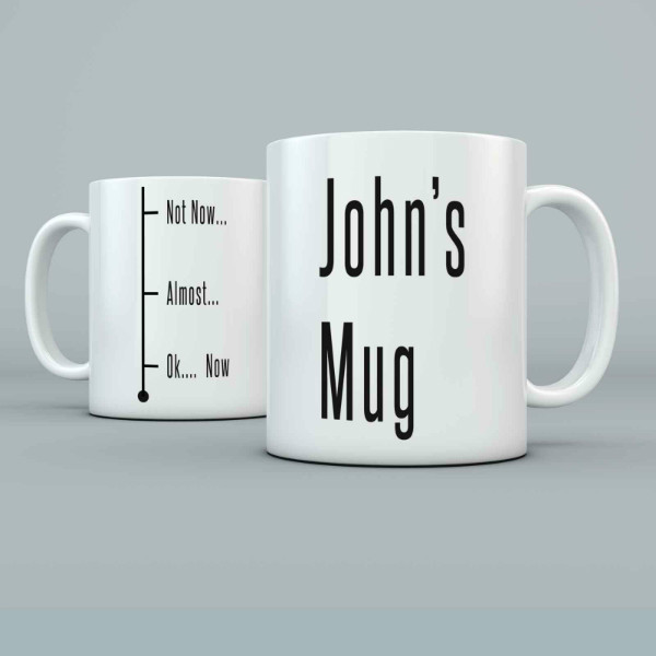 Fill Level Joke design Personalised 11oz glossy white tea, coffee, ceramic mug.