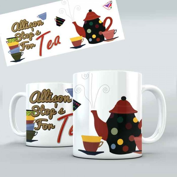 Everything Stops For Tea personalised 11oz glossy white tea, coffee, ceramic mug.