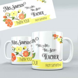 Thank you Gift For you Teacher personalised 11oz glossy white tea, coffee, ceramic mug.