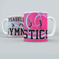 Gymnastics personalised 11oz glossy white tea, coffee, ceramic mug.