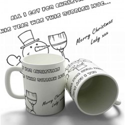 Christmas Snowman Joke personalised 11oz glossy white tea, coffee, ceramic mug.