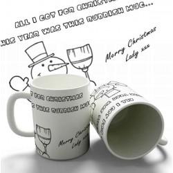 Christmas Snowman Joke personalised 11oz glossy white tea, coffee, ceramic mug.