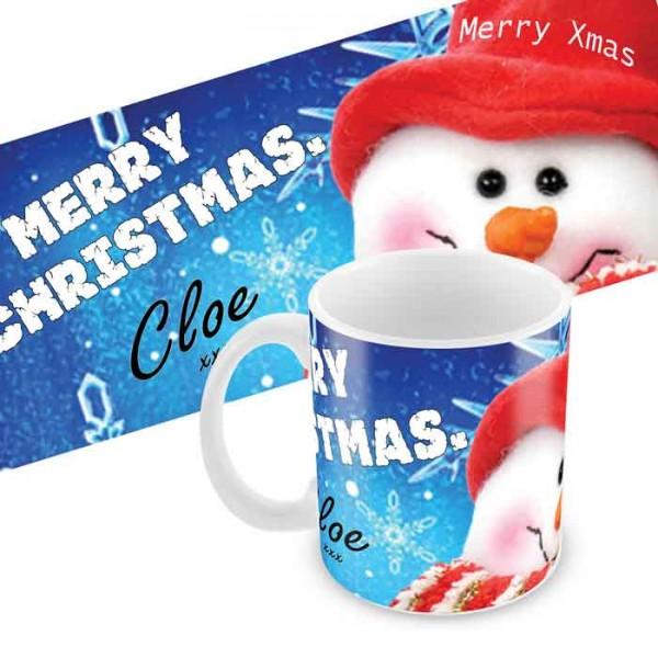 Christmas Snowman personalised 11oz glossy white tea, coffee, ceramic mug.