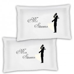 A Pair Of Bride & Groom Personalised Luxury Pillow Cases, A Lovely Wedding Gift Idea.