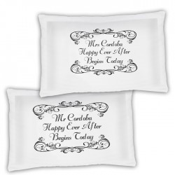 A Pair Of Wedding Personalised Luxury Pillow Cases, A Lovely Wedding Gift Idea.