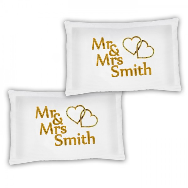 A Pair Of Mr & Mrs Gold Effect Hearts Personalised Luxury Pillow Cases, A Lovely Wedding Gift Idea Gift