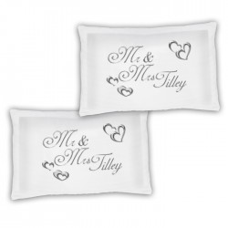 A Pair Of Mr & Mrs Silver Effect Hearts Personalised Luxury Pillow Cases, A Lovely Wedding Gift Idea Gift