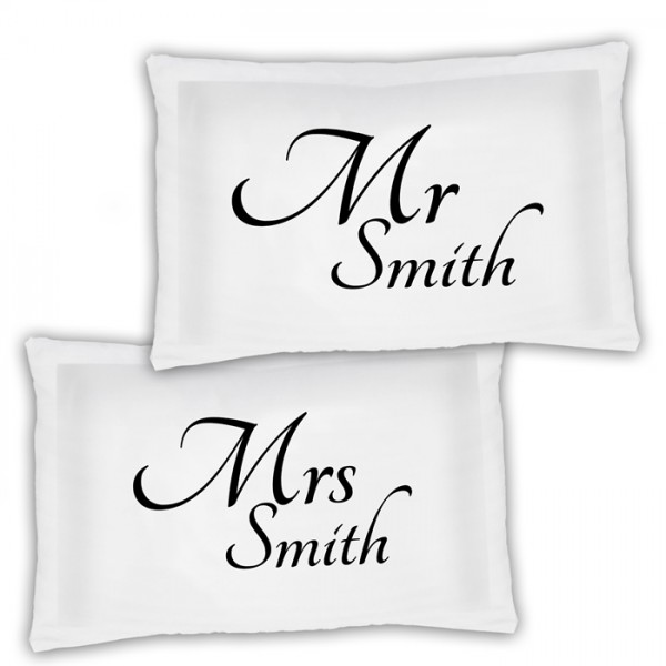 A Pair Of Mr & Mrs Personalised Luxury Pillow Cases, A Lovely Wedding Gift Idea Gift