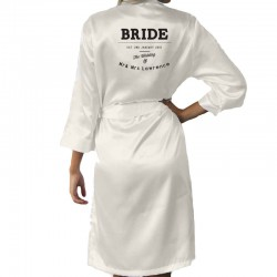 Simple Design For your message Personalised Ivory Satin Robe. Wedding Favours For The Whole Wedding Party, Bridesmaid. Bride