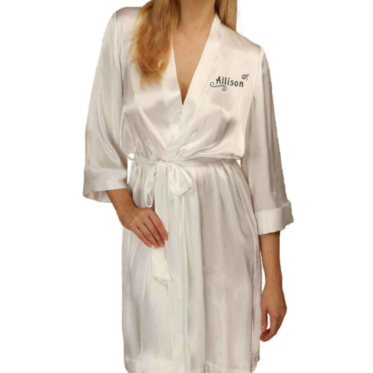 Unusual Design Personalised Ivory Satin Robe. Wedding Favours For ...