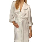 Unusual Design Personalised Ivory Satin Robe. Wedding Favours For The Whole Wedding Party, Bridesmaid. Bride