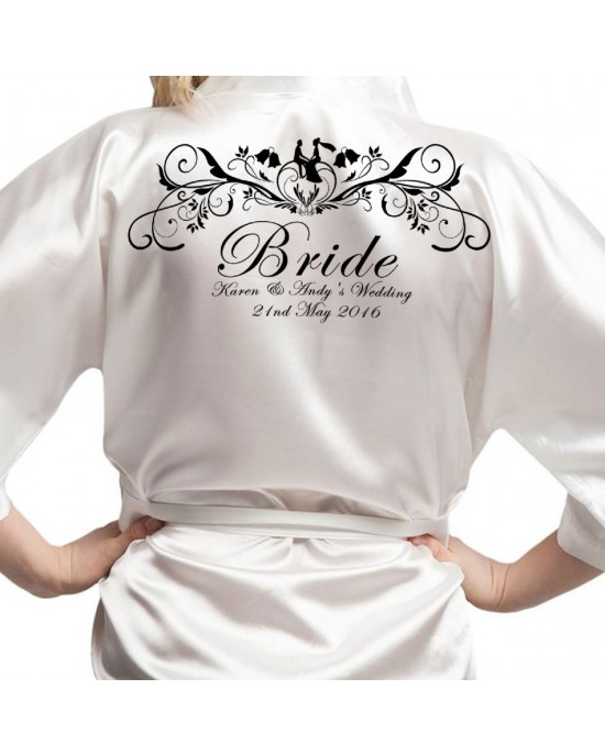 Wedding Scroll Design Black Print Personalised Satin Robe. Colours Available. Wedding Favours For The Whole Wedding Party, Bridesmaid. Bride