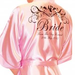 Beautiful Bride & Groom Silhoutte Personalised All Colours Satin Robe. Wedding Favours For The Whole Wedding Party, Bridesmaid. Bride