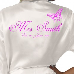 Personalised Ivory Satin Robe. Butterfly Design, Wedding Favours For The Whole Wedding Party, Bridesmaid. Bride