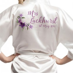 Script Font Personalised Ivory Satin Robe. Water colour Flower Design Kimonos For The Whole Wedding Party
