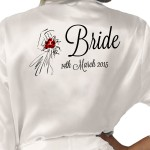 Sketched Bride Dress With roses Design Personalised Ivory Satin Robe. Wedding Favours For The Whole Wedding Party, Bridesmaid. Bride