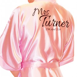 Simple Script Personalised Ivory Satin Robe. Wedding Favours For The Whole Wedding Party, Bridesmaid. Bride